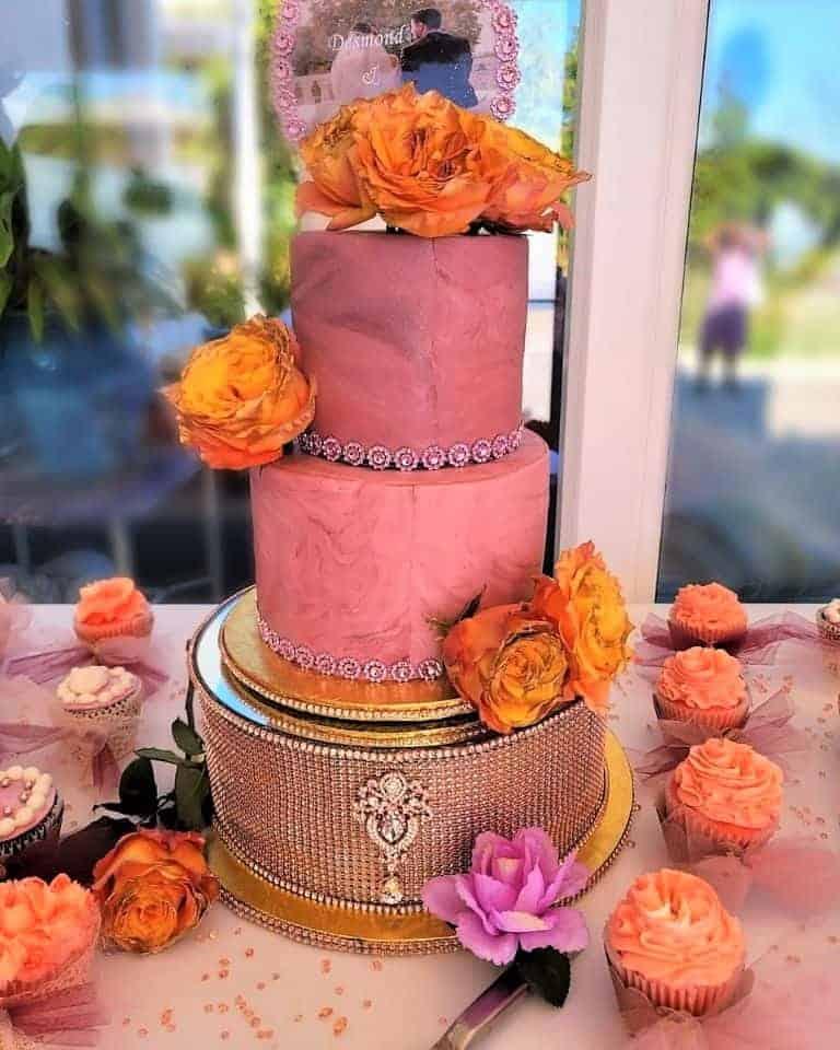 Lucy's Cakes & Crumbs - Orange Roses Wedding Cake 2