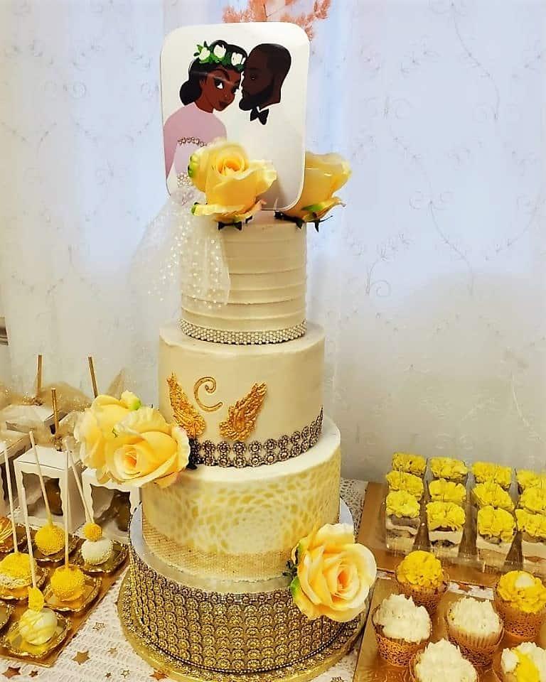 Lucy's Cakes & Crumbs - Wedding Cake Yellow Theme